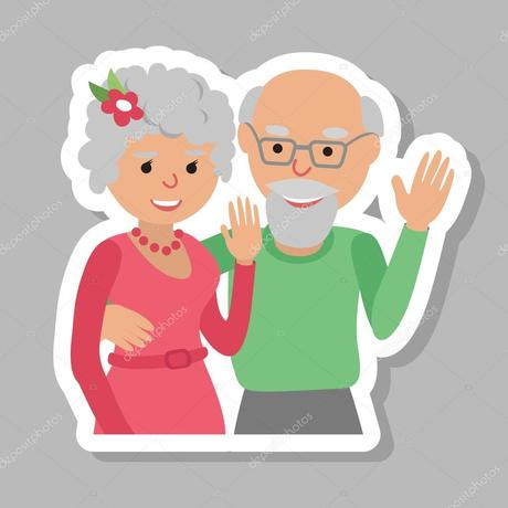 Depositphotos 128084136 stock illustration happy senior couple waving his